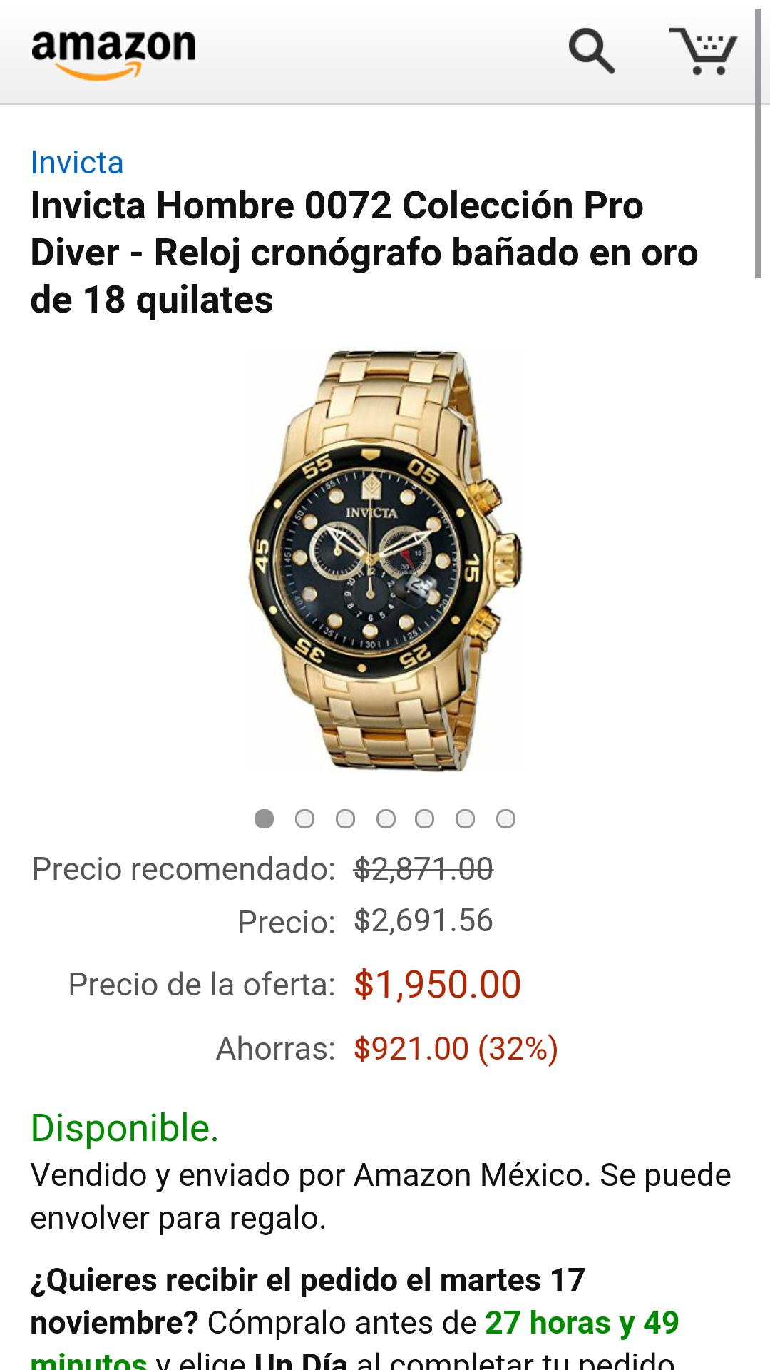 Amazon Oferta Relámpago: Reloj invicta Bañado en Oro 18 quilates