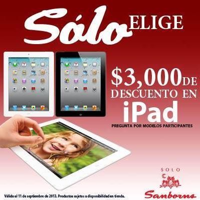 Sanborns: $3,000 de descuento en iPad con 3G y 4G