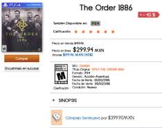 El Buen Fin en B Store (Antes Blockbuster): The Order 1886 PS4 a 299.92