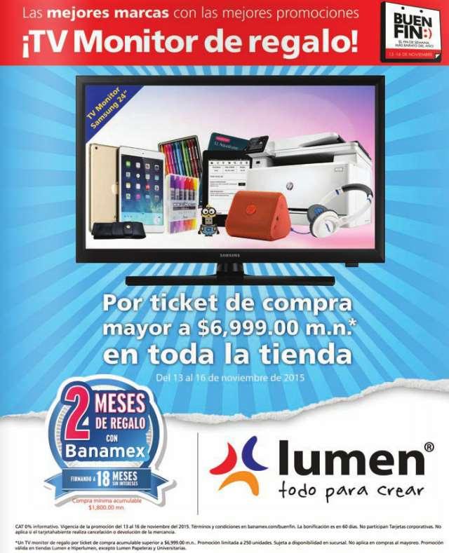 """Ofertas del Buen Fin en Lumen: monitor Samsung 24"""" gratis en compras $7,000"""