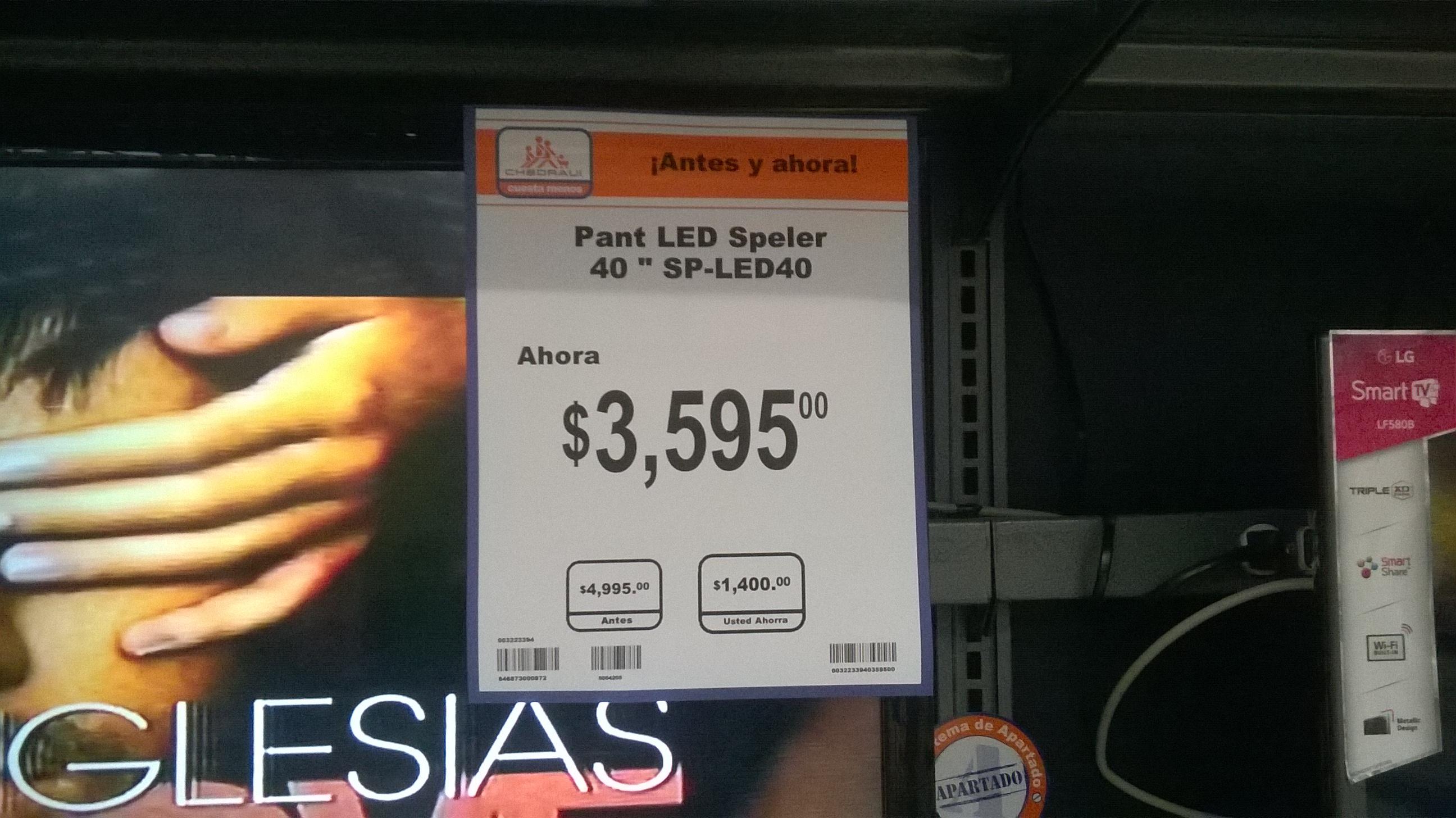 """Ofertas El Buen Fin en Chedraui - pantalla speler 40"""" led $3595"""