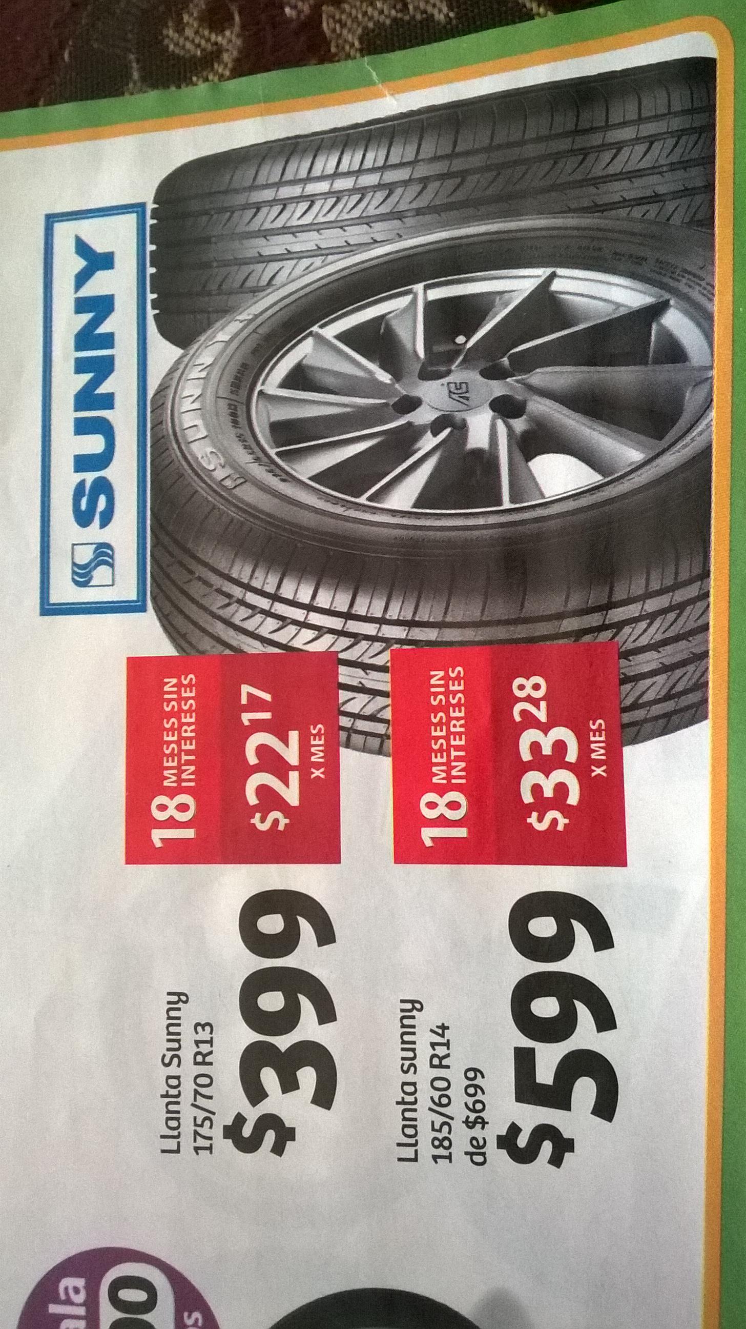 Soriana -  llanta R13 175/70 marca sunny $399