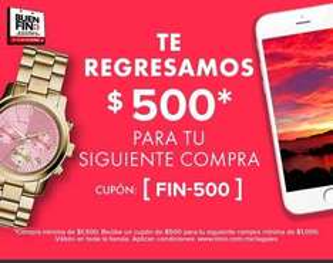 "Linio - Buen Fin: Cupón de 500 para próxima compra ""FIN-500"""