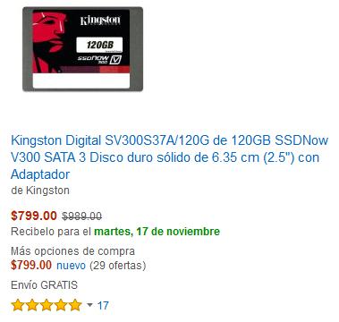 Amazon: SSD Kingston de 120GB