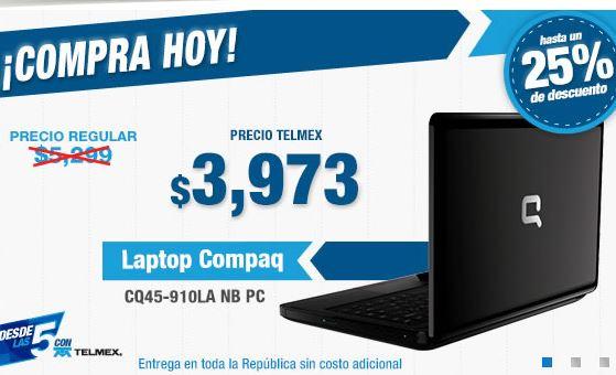 Tienda Telmex: laptop Compaq CQ45-910LA con 4GB de RAM $3,973