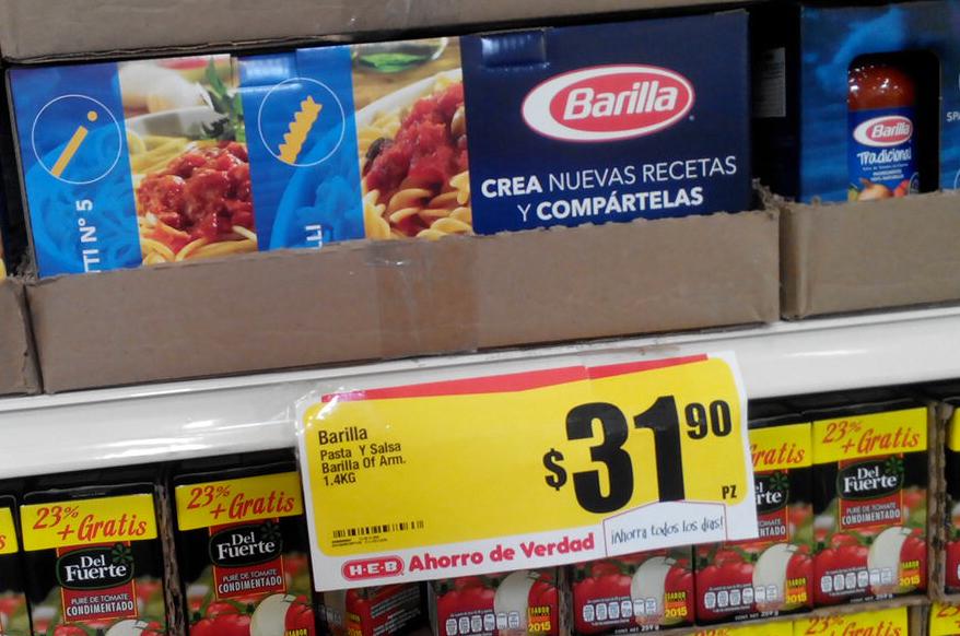 HEB paquete Barilla $32 (dos pastas 500g y una salsa clásica de 400gr)