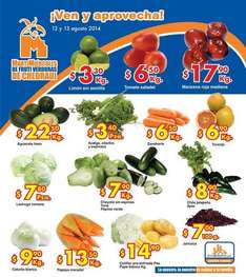 Ofertas de frutas y verduras en Chedraui agosto 12 y 13
