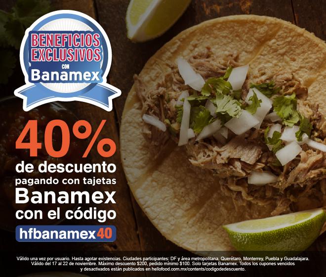 Hellofood 40% pagando con banamex