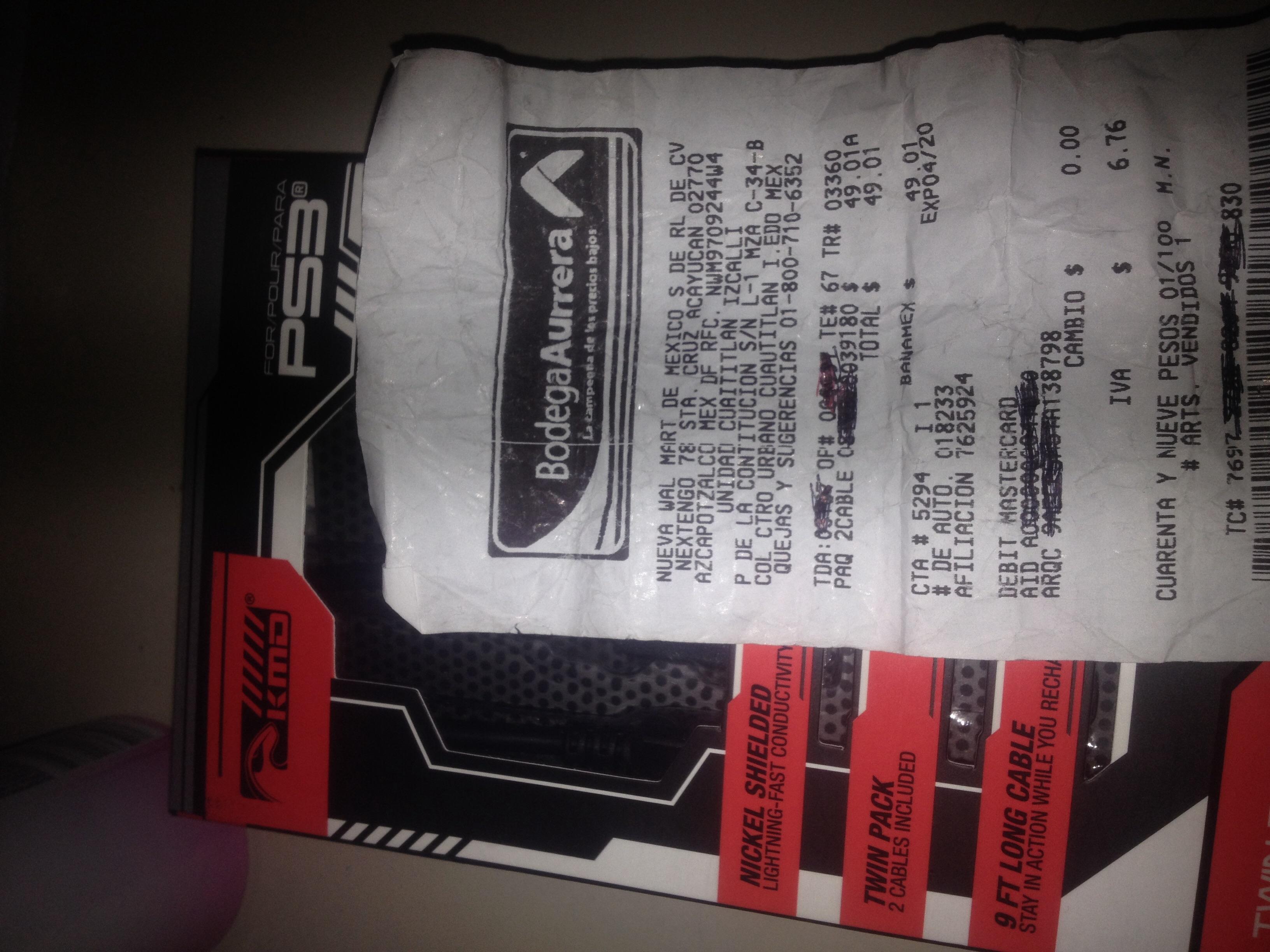 Bodega Aurrerá: cable de carga para control de PS3 a $49.01