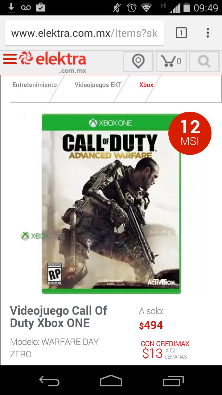 Elektra: Call of Duty Advanced Warfare para Xbox One a $494