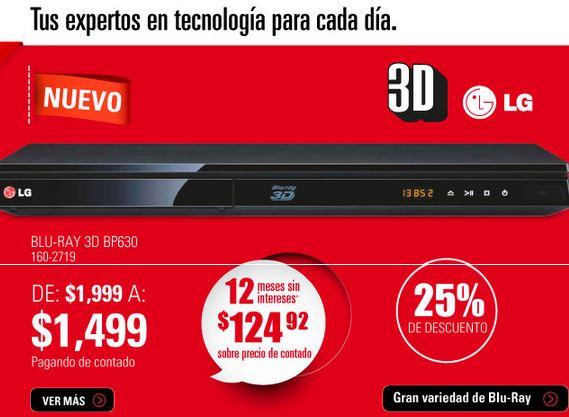RadioShack: Blu-ray LG 3D con WiFi $1,499 y 12 meses sin intereses