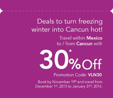 Volaris: Viaja a/de Cancún con 30% de descuento reservando HOY