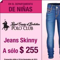Sears: $255 Jeans Polo Club para niña