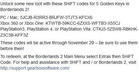 Borderlands 2 Nuevas 5 Golden Keys para ser usadas hasta noviembre 29
