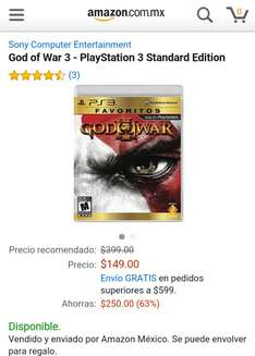 Amazon Mx: God of War 3 para PS3 a $149