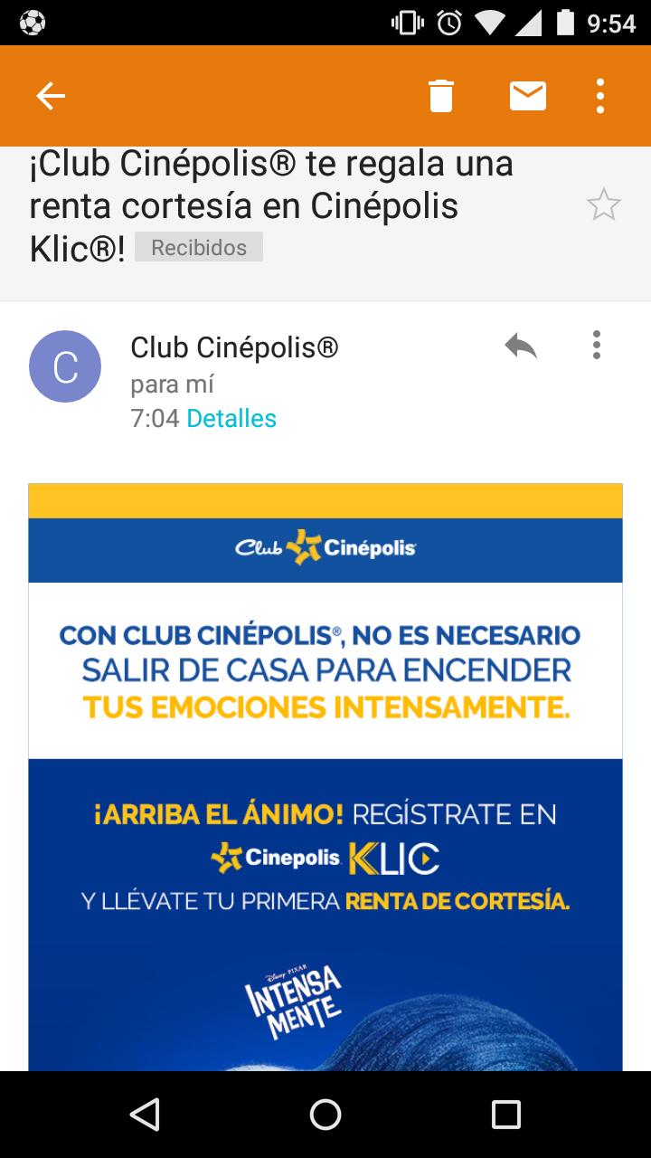 Renta gratis en Cinépolis klic (posiblemente en tu correo si tienes Club Cinépolis)