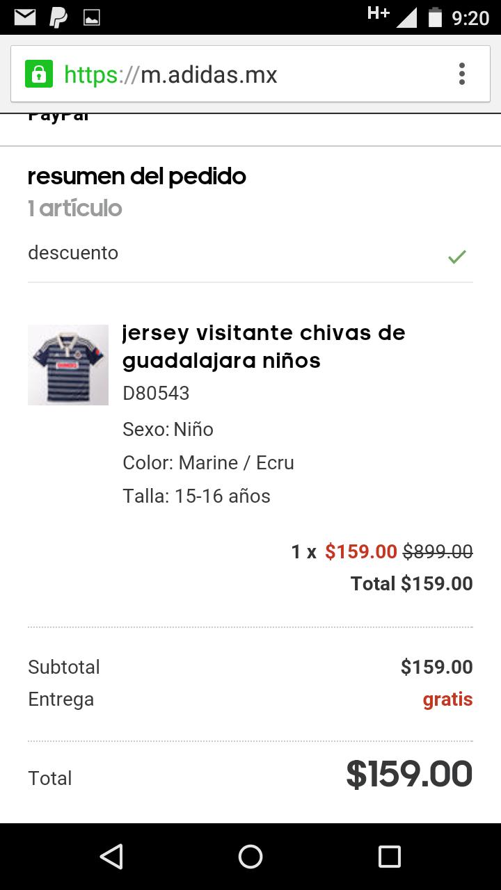 Adidas: playera de Chivas infantil a $159
