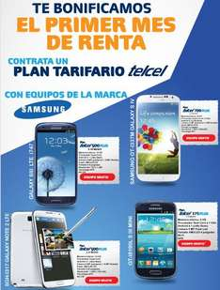 Telcel: bonifiación de 1 mensualidad en equipos Samsung (S3 o Note 2 gratis en plan de $499)