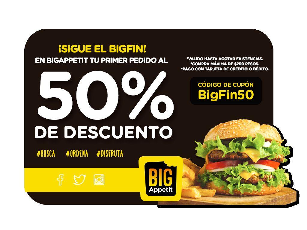 Big Appetit cupon 50% de descuento