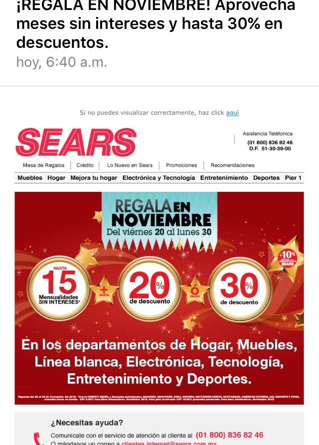 Sears: descuentos del 20 al 30% en varios en departamentos