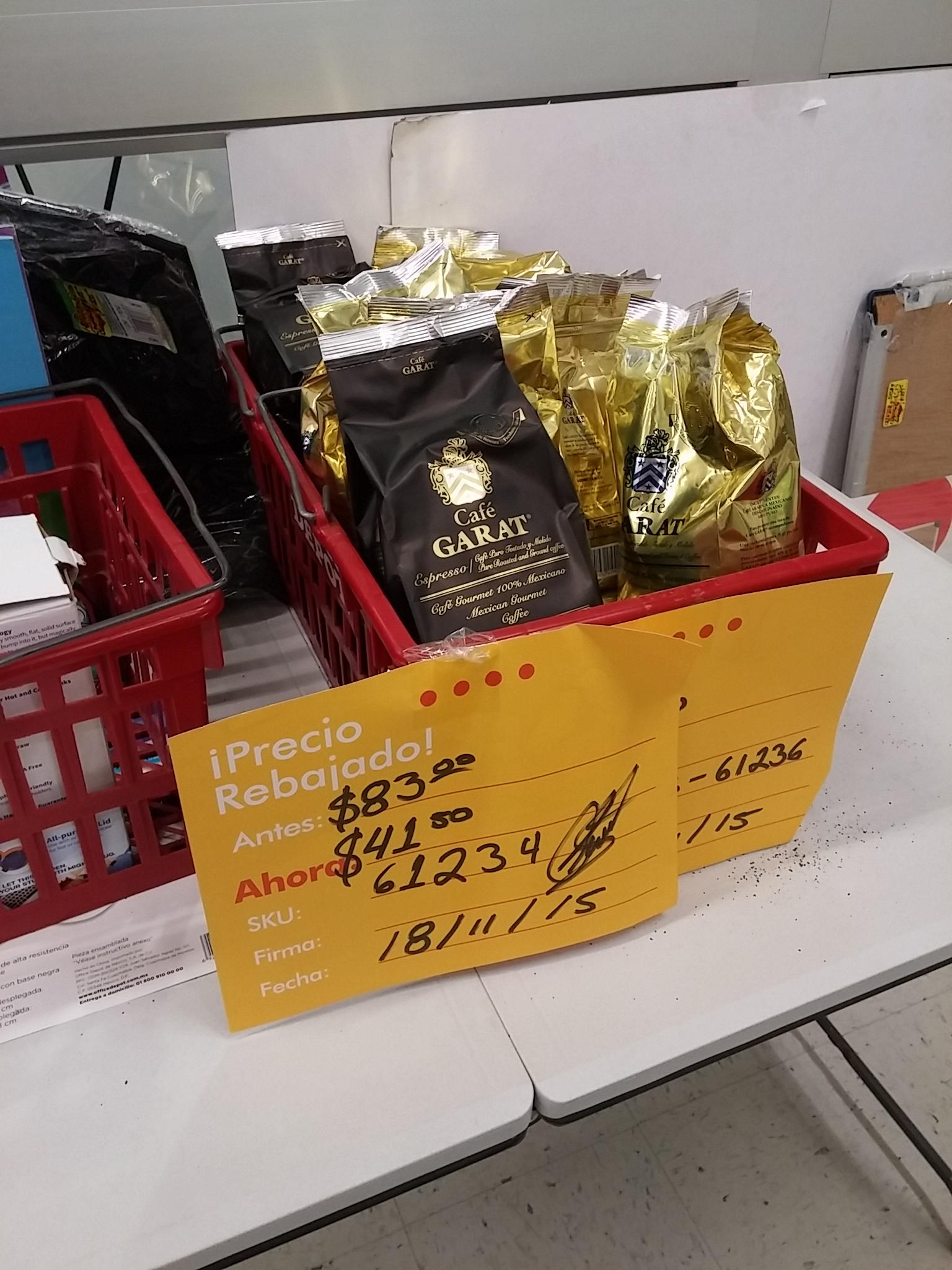 Office Depot: Bolsa de Café Garat de 450g a $41.50