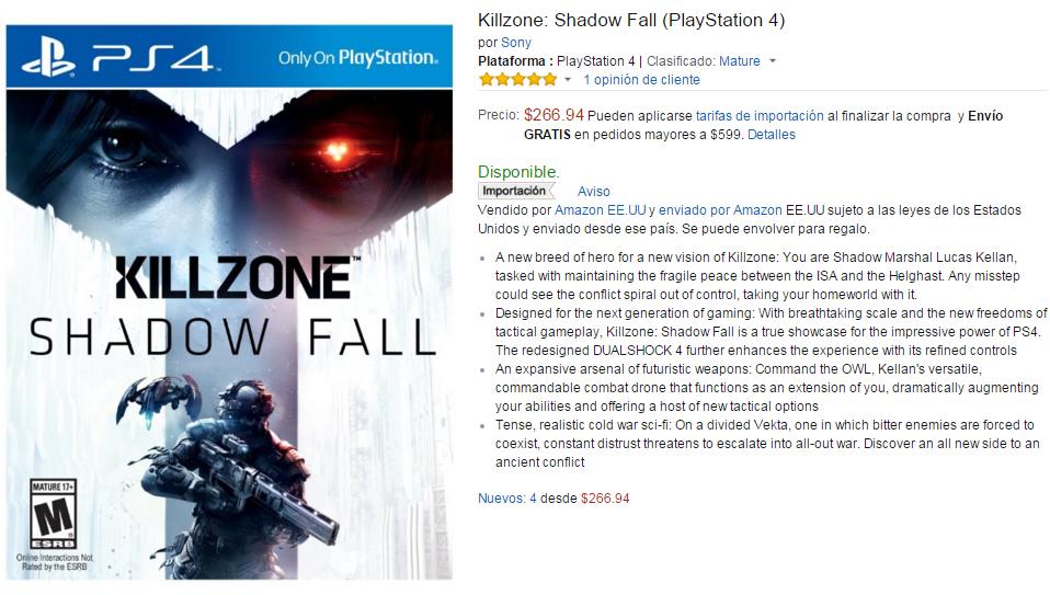 Amazon MX - Killzone: Shadow Fall (PlayStation 4) $266.94