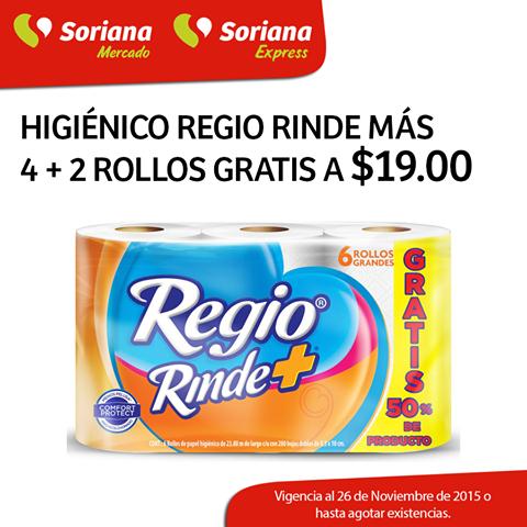 SORIANA MERCADO Y SORIANA EXPRESS PAPEL REGIO RINDE MAS 6 ROLLOS POR $19
