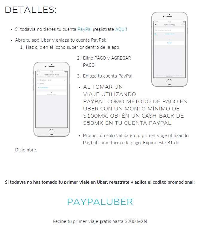 Uber: $50 de cashback en viajes de $100+ con PayPal