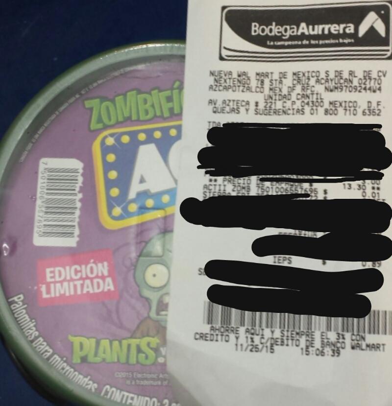 Bodega Aurrerá - Palomitas ACT II $0.01 (3 Sobres más dulcero. Edición Especial: Plants vs Zombies)