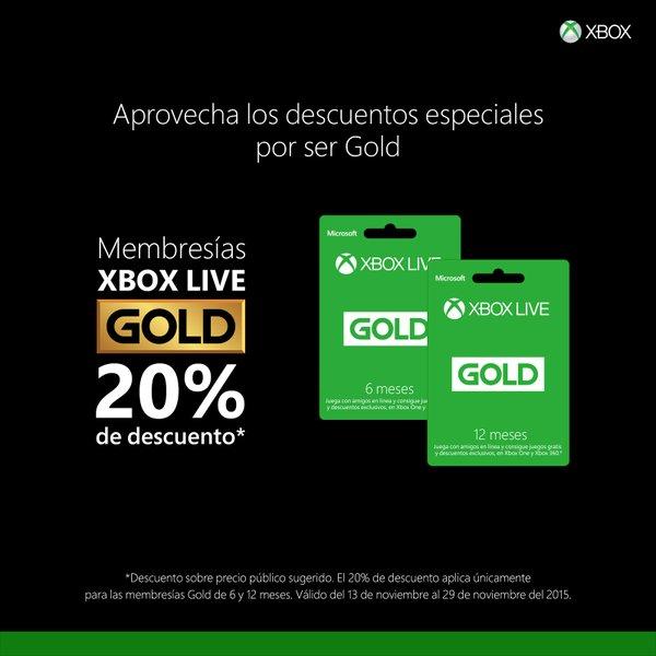 Black Friday Xbox: 20% de descuento en membresía Xbox Live Gold (varias tiendas)