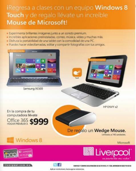 Liverpool: Galaxy Note 8.0 $5,599, Wedge mouse gratis comprando computadora y -15% en preventas