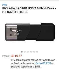 Amazon: Memoria USB PNY 32GB a $117