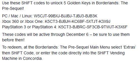 Borderland 2 The Prequel: 5 llaves doradas para ser usadas antes del 6 de diciembre