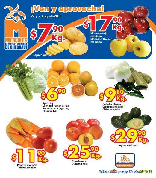 Frutas y verduras Chedraui agosto 27 y 28
