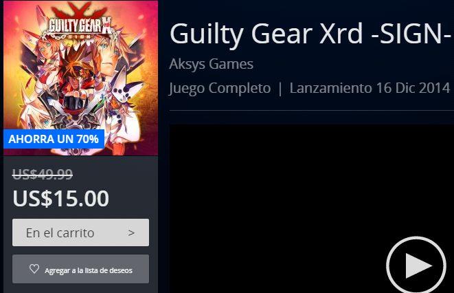PSN: Guilty Gear Xrd -SIGN- a $ 15 dólares