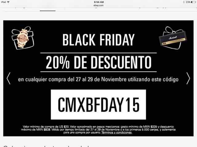 Black Friday en ebay: cupón de 20% de descuento