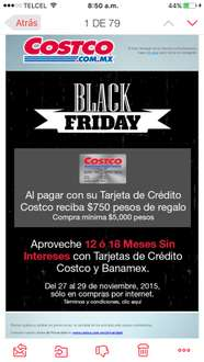Costco Black Friday: $750 de regalo en compra mínima de $5000