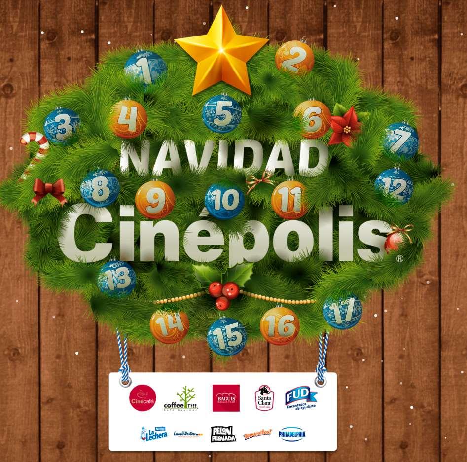 Promoción Navidad Cinépolis 2015: 1 regalo cada día del 27 de noviembre al 13 de diciembre