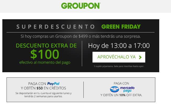 Groupon $100 de descuento en compras de + de $499 + 10% descto con Mercadopago