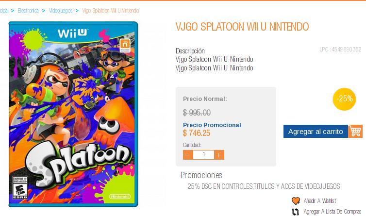 Chedraui: Splatoon Wii U $746