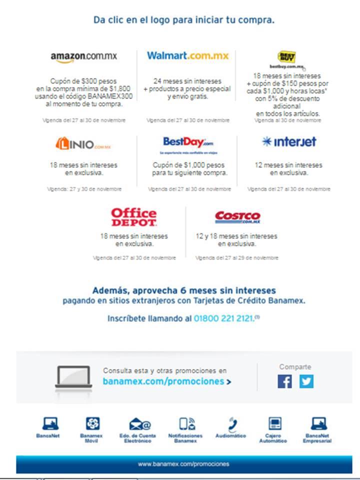 Promociones con Tarjetas Banamex Black Friday / Cyber Monday