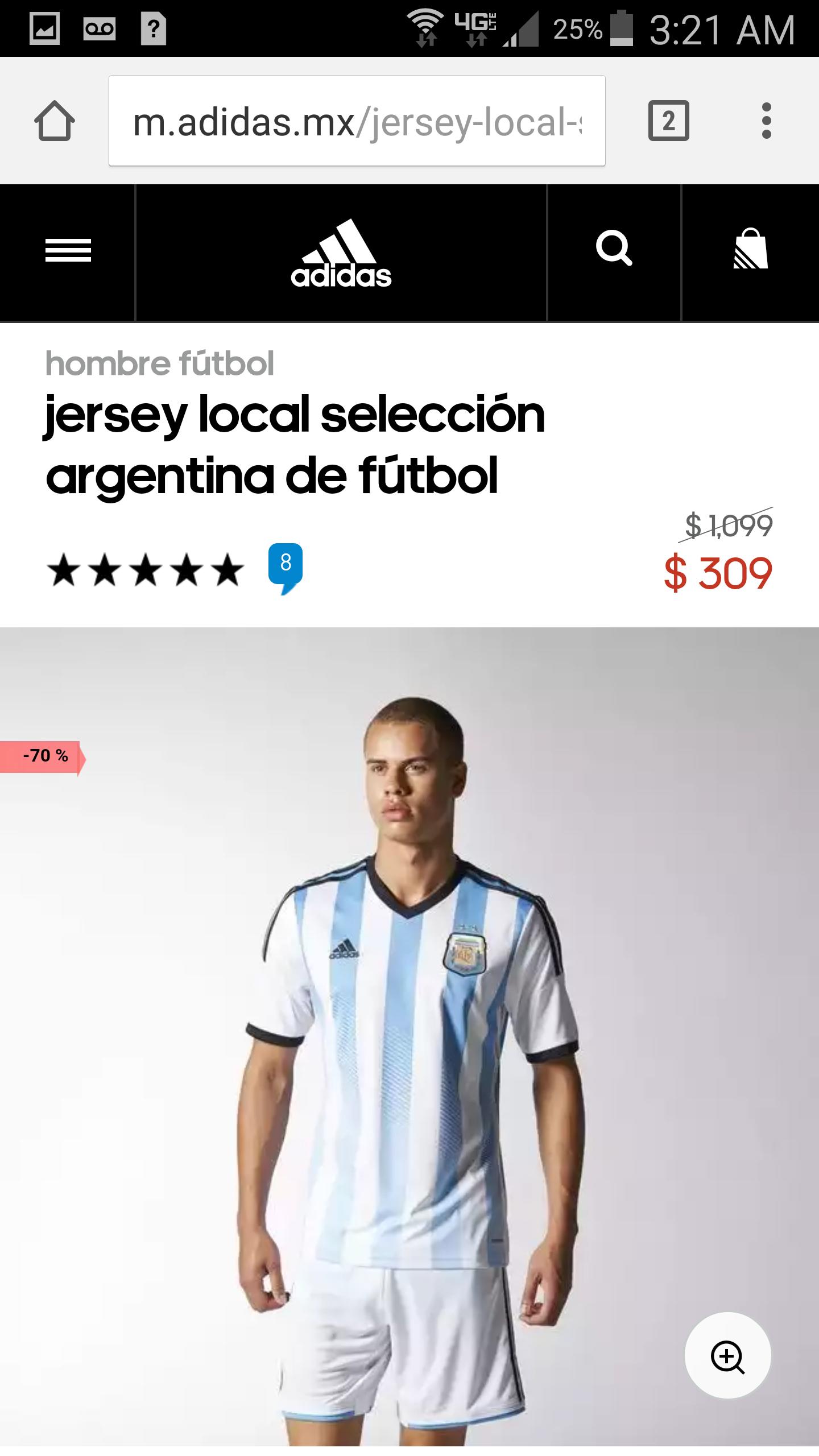 Adidas: Camisa selección Argentina local