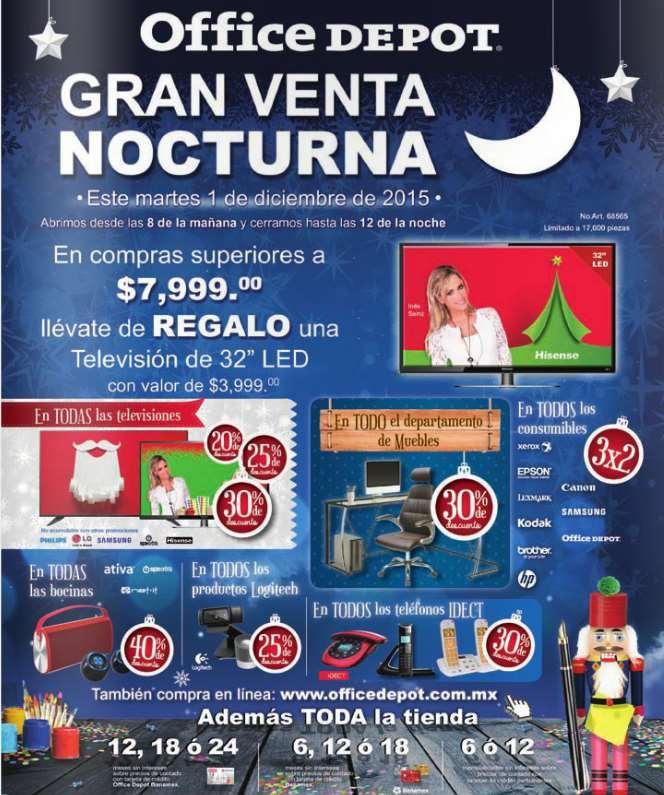Office Depot venta nocturna el martes 01 de Diciembre En tienda y online . Regalo TV 32 Hisense