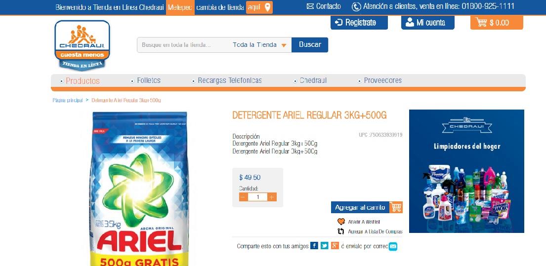 Chedraui Metepec: Ariel de 3.5 Kg a $49.50