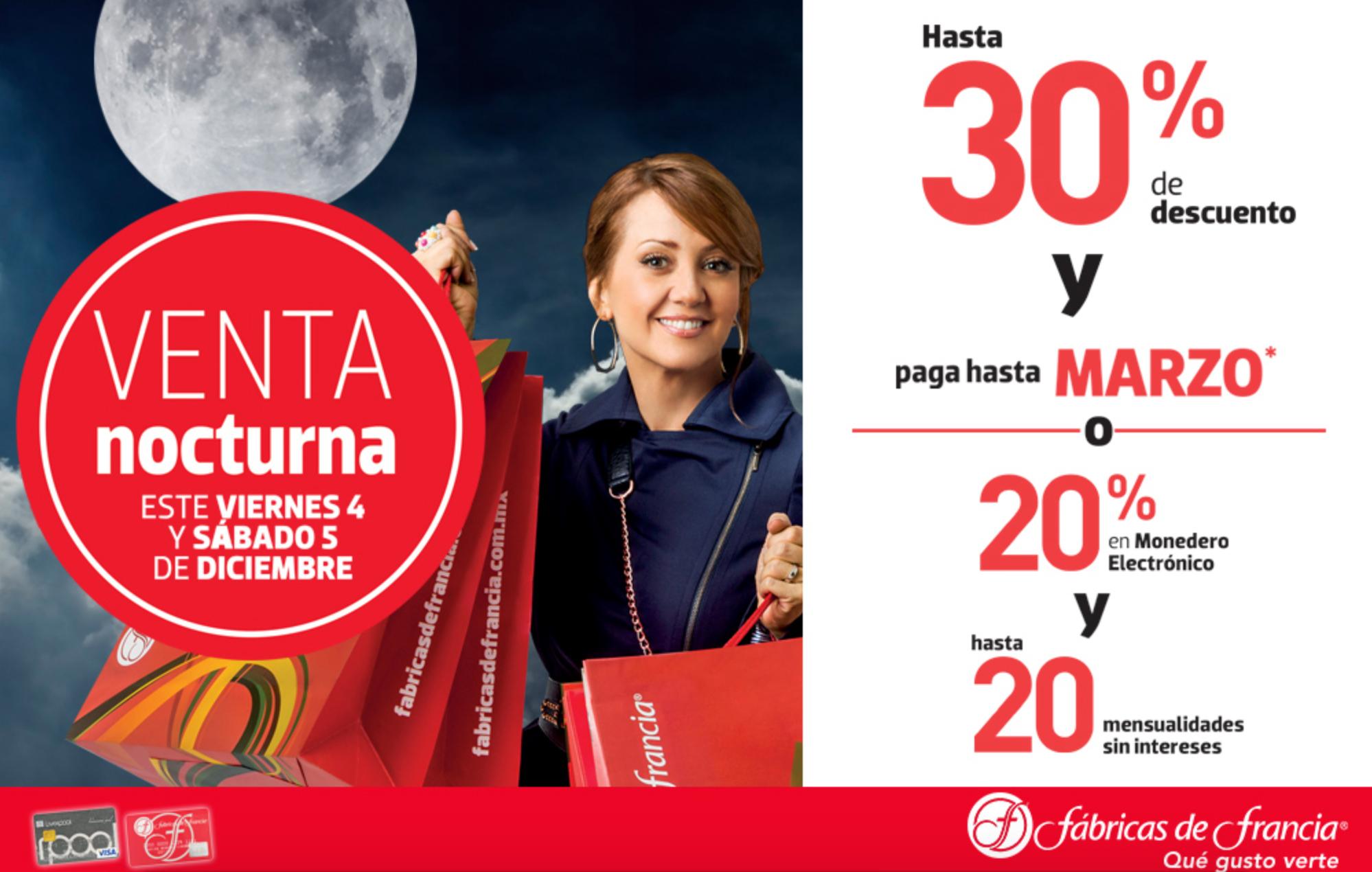 Venta Nocturna Fábricas de Francia (y Liverpool online) 4 y 5 de diciembre