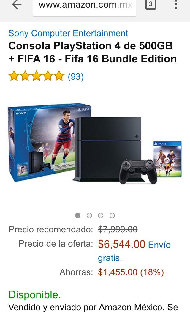 Cyber Monday Amazon: Consola Playstation 4 + Fifa 16 $6,544 o menos