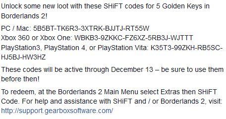 Borderlands 2: 5 nuevas llaves doraras para usarse hasta el 13 de diciembre