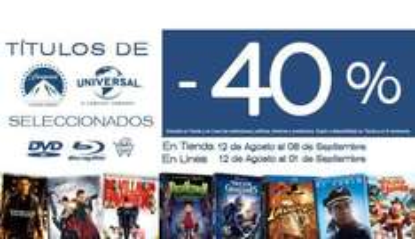 Blockbuster: 40% de descuento en títulos Paramount y Universal