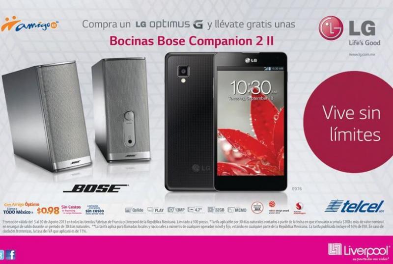 Telcel: rebajas en equipos LG (Optimus G $4,848 y bocinas Bose de regalo)