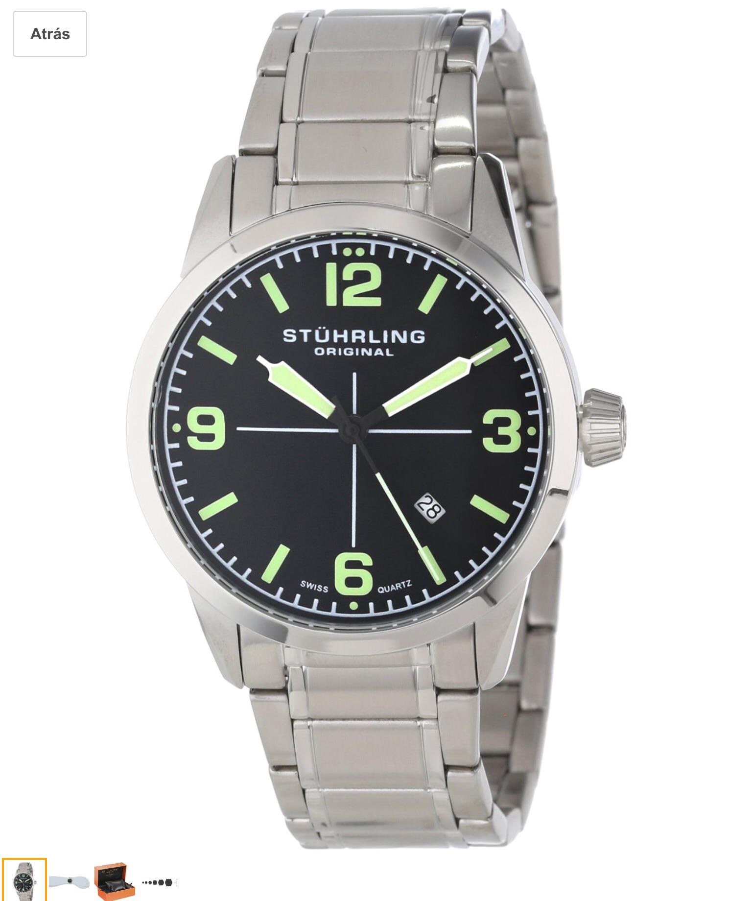 Amazon Mx: Stuhrling Original 449B.331171 Aviator Tuskegee Elite Reloj de cuarzo suizo, en acero inoxidable y con fecha